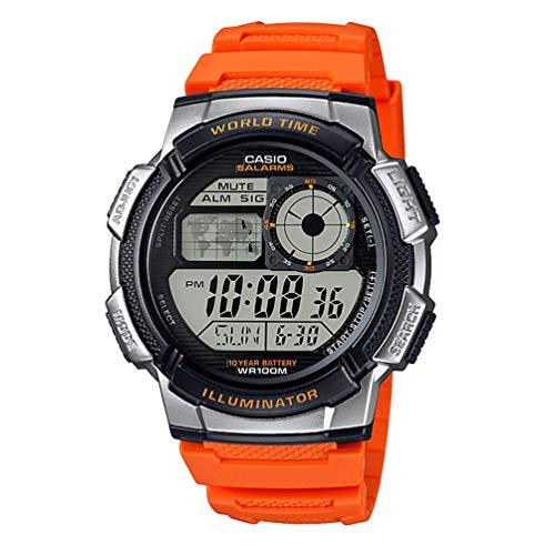 Casio - Reloj casual de resina para hombre con mecanismo de cuarzo, 10 años de batería, color naranja...