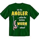 spaßiges Sprüche Tshirt Ich bin ein Angler ...willst Du mein Wurm sein? Gr XXL Fb grün