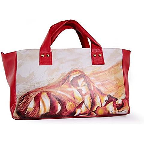 Art Vas Barcelona , Damen Henkeltasche rot rot