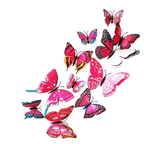 12 Stücke 3D Schmetterling Wandtattoo Vorhang Decor Aufkleber Wandsticker Wanddeko Abziehbilder Wandaufkleber Wandbilder für Wohnung Raumdekoration Schlafzimmer Haus Kindergarten Klassenzimmer Büros