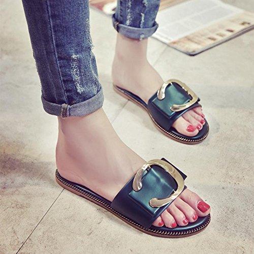 LvYuan Damen Sommer Hausschuhe / Komfort Casual Mode / Metall Wölbung / flatforms / Sandalen / sexy Strand Schuhe Green