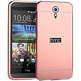 HICASER Duro Híbrido Carcasa para HTC Desire 620 Bumper Case del Metal Aluminio + PC Ultrafina Espejo Efecto Trasero Funda Cover Rosa