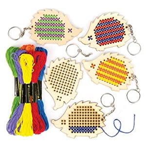 Baker Ross Hedgehog Wooden Cross Stitch Keyrings (Pack of 5) For Kids To Decorate, Arts and Crafts