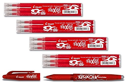 Bonus Pack Pilot FriXion Ball Tintenroller 0,7 Ersatzminen Nachfüllminen | 4 Set á 3 Stk + 1x Frixion Ball in Rot