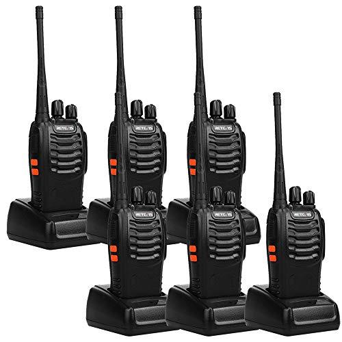 Retevis H-777 2-Way Walkie Talkie UHF 400-470MHz 5W 16CH Single Band with Earpiece Hand Held Mobile Amateur Radio Walkie Talkie Ham Radio Black 6 Pack
