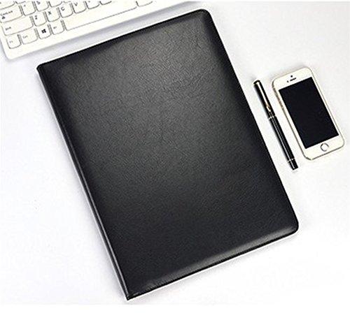 Agenda da ufficio con calcolatrice e cartellina portadocumenti da conferenza. Custodia per documenti formato A4 cartellina pelle Black