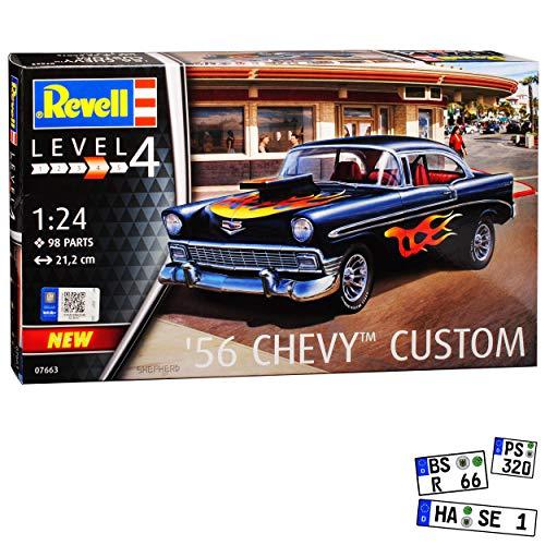 Chevrolet Chevy Bel Air Custom Serie 2400C Coupe Schwarz 1. Generation 1953-1957 Bausatz Kit 1/24 Revell Modell Auto
