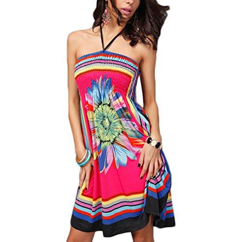 Fanmay Damen Kleider Elegant Bandeau Kleider Sling Blumen Splice Printing Abendkleider Partykleid Blusenkleider Midikleid Cocktailkleid (L, Rose)