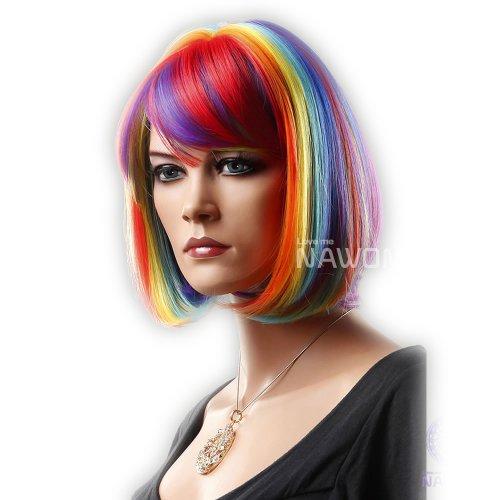 Short Bob Regenbogen bunte natürliche gerade volle Pony Pony Frisur Frauen Perücke