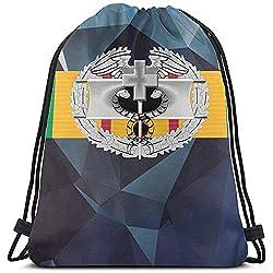 Vietnam Service Ribbon Mit Combat Medical Badge Nummernschild Kordelzug Turnhalle Reisetasche Persönlichkeit Logo Kordelzug