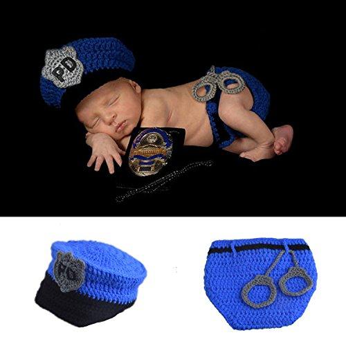 ENCOCO Baby Foto-Requisite Outfit Kleidung Stricken Häkeln Fotografie Kleinkind Niedlich Blau Police Form Handarbeit Kostüm Mütze Unisex Mädchen Jungen Set