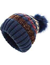 Knitted Hats - YOPINDO Girls Ladies Beanie Hat Wool Winter Warm Outdoor Ski Snowboard Cycle Bobble Hemming Hats Cap Big Ball Pom Pom Knitted Hats for Women