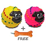 #4: Goofy Tails Squeaky Ball With Puppy Face In Assorted Color (Pack of 2) With Key Chain