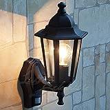 Schwarze LED Energiespar-Außenwandleuchte 6 Watt mit Bewegungsmelder Wandlampe Hoflampe Außenleuchte Sensor