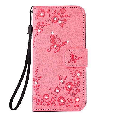 jbTec® Flip Case Handy-Hülle Book #S21 Schmetterlinge MIT Strass zu Samsung Galaxy S8 - Handy-Tasche Schutz-Hülle Cover Handyhülle Bookstyle Booklet, Farbe:Rosa, Modell:Galaxy S8 / Duos/SM-G950