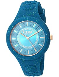 Versus by Versace Women's 'FIRE ISLAND GLITTER' Quartz Stainless Steel and Silicone Casual Watch, Color:Green (Model: VSPOQ1817)