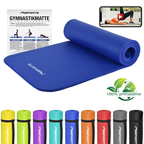 MSPORTS Gymnastikmatte Premium inkl. Übungsposter + Tragegurt + Workout App GRATIS | Hautfreundliche - Phthalatfreie Fitnessmatte - Königsblau - 190 x 60 x 1,5 cm-sehr weich-extra dick | Yogamatte