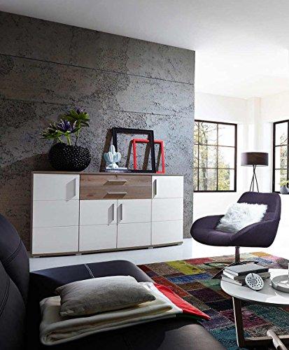 Sideboard in Silbereiche Nb., Fronten in weiß-Struktur und Abs. in Silbereiche Nb., 4 Holztüren, 2 Schubkästen, Maße: B/H/T ca. 171/102/50 cm