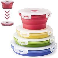Virklyee Boîte à Lunch Pliante en Silicone 4 Pcs Support Pliable conteneurs de Stockage de Nourriture Silicone Pliable…