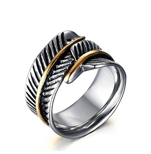 Jiedeng Schmuck Unisex Ringe aus Edelstahl Ring mit Feder Gotik Punk Biker Rock Retro Freundschaftsringe für Herren-Ring, Damen-Ring Silber Gold Größe 67 (21.3)