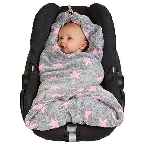 Hoppediz D5-star-pink Fleece-Decke für 3 & 5 Punkt-Gurtsysteme Einschlag-/Auto-/Krabbeldecke, graupink
