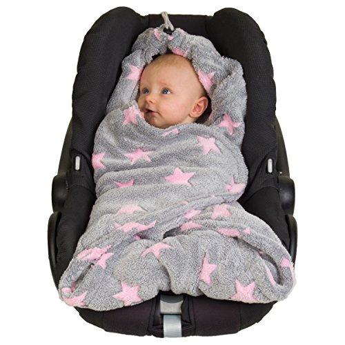 HOPPEDIZ Fleece-Decke für 3 & 5 Punkt-Gurtsysteme Einschlag-/Auto-/Krabbeldecke grau/rosé mit Sternen