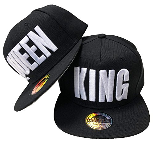 JameStyle26 King & Queen Snapback Set USA Cap Kappe Basecap Mütze Trucker Cappy Kult (King & Queen Schwarz Set)