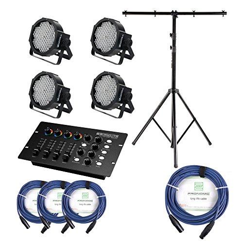 Showlite FLP-144 Scheinwerfer SET inkl. DMX Controller, Licht-Traverse und Kabel (LED-Spots, Lichttechnik, Komplettset, DMX Operator, Stativ, DMX-Kabel, 1m, 3m)