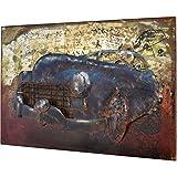 MÖBEL IDEAL 3D Metallbild Oldtimer Auto Wandbild 60 x 40 x 4 cm Bild aus Metall in Handarbeit