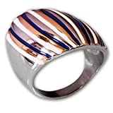 Fly Style Damen-Finger-Ring Breit 316L Edelstahl- Silber Mehrfarbig risst062, Ring Grösse:22.0 mm