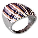 Fly Style® Damen-Ring breit 316L Edelstahl silber mehrfarbig risst062, Ring Grösse:20.0 mm