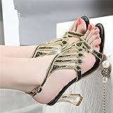 LGK&FA Rhinestone Sandalias De Moda Femenina Sexy Zapatos De Tacón Con Hebilla Zapatos De Cristal Diamante En Bruto 37 Negro
