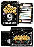 Junaversum 8 Einladungskarten incl. 8 Umschläge zum 9. Geburtstag Kinder neunte Kindergeburtstag