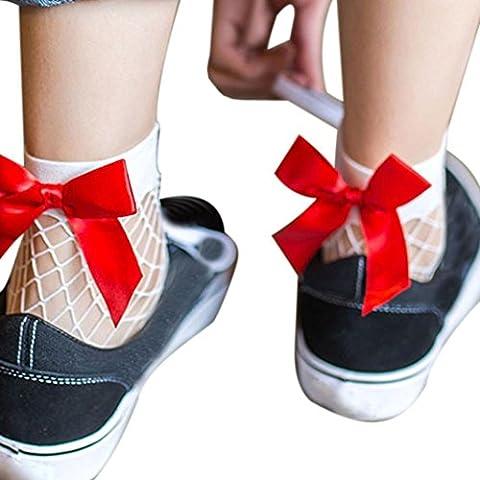 KEERADS Chaussettes Femmes Mode Printemps Été Sexy Nœud papillon Dentelle Extension Haute cheville Fishnet Net Base Pleine court Chaussettes élégan,Beaucoup de couleurs (B)