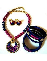 Sarpi Crafts Blue & Purple Silk Thread Necklace Set For Women