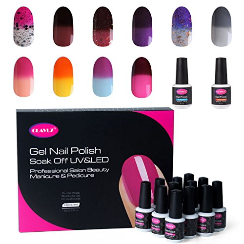 Clavuz Smalto Semipermente per Unghie in Gel UV LED Camaleonte 12pzs Colori Kit per Manicure Smalti Gel per Unghie Soak Off Base Coat Top Coat