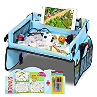 Twister.CK Car Play Travel Tray for Kids, Baby Car Seat Tray to Drawing with 16 Mesh Pockets, 3 Drawing Papers, 4 Drawing Panels - Child Snack & Play Activity Tray for Cars, Plane, Outdoor Activities