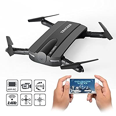 Foldable RC Quadcopter Drone,2.4G 6-Axis Altitude Hold WIFI FPV RC Quadcopter Drone With HD Camera,Fixed Height Mode, Black.