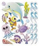 Stickerkoenig Wandtattoo XXL 3D Sticker Wandsticker - Meeresbewohner Delphin Fische Wasser Unterwasserwelt Kinderzimmer Deko auch für Bad, Wände, Fenster, Schränke, Türen etc auf Bogen Wandaufkleber