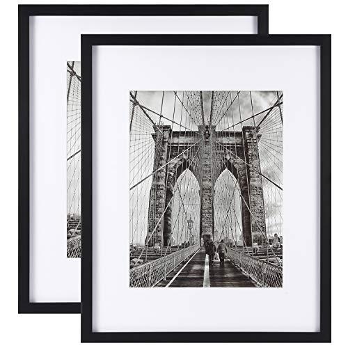 Onewall 41 x 51 cm Bilderrahmen Bilderrahmen aus gehärtetem Glas mit Passepartout für 28 x 36 cm Bilderrahmen aus Holz für Wanddisplays 2 Stück Schwarz (36x18 Rahmen)
