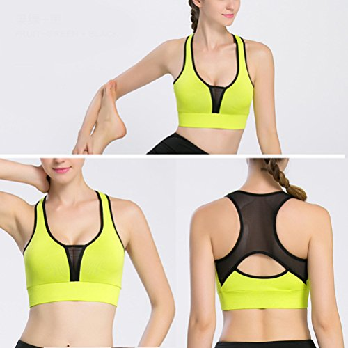 Zhhlinyuan Womens Comfortable Full Cup Sports Workout Yoga Fashion Vest Bra LWQ-0102 green