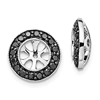 11mm 14ct White Gold Black Diamond Earrings Jackets Jewelry Gifts for Women
