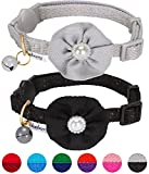 Blueberry Pet Pack of 2 The Beloved Adjustable Breakaway Cat Collar with Bell and Flower Deco, Sleek Grey & Iconic Black, Neck 23cm-33cm