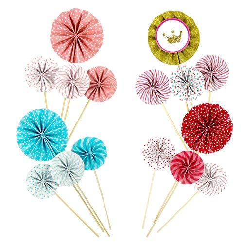 (Dokpav 12 Kuchen eingelegte Karte Kuchen Dekoration Kuchendeckel Nachtisch Blume Dekorationen für die Geburtstagsfeier Hochzeit Kind)