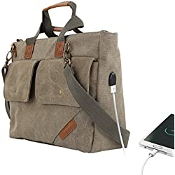 "Portronics POR-827 Unisex Elements U, Leather Messengers cum Laptop Bag with an in-built USB 2.0 Charging Port, Carry up to 15.6"" Laptop"