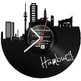 GRAVURZEILE Wanduhr aus Vinyl Schallplattenuhr Skyline Hamburg Upcycling Design Uhr Wand-Deko Vintage-Uhr Wand-Dekoration Retro-Uhr Made in Germany