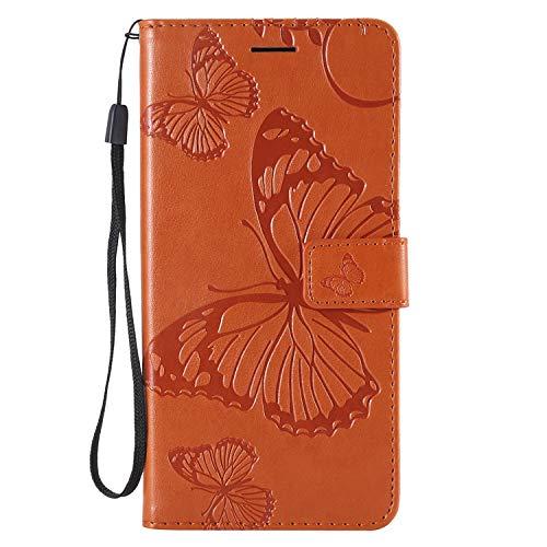 Ledertasche BookStyle Luxus 3D Butterfly Slim Leder Hülle Schutzhülle Scratch Bumper Flip Folio Wallet Stand Case Card Slots Pocket Shell Magnetverschluß Etui Case für iPhone XS iPhone X 5,8