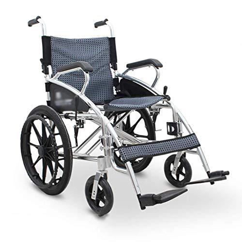Carrozzina semovente Pieghevole, Sedia a rotelle in Lega di Alluminio Sedia da Trasporto Interna ed Esterna Leggera, Dispositivo Mobile Portatile, per i disabili Adatto, b, Wh