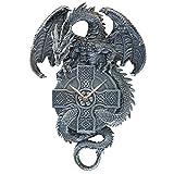 Design Toscano CL3898 Horloge Murale sculptée Dragon Gardien du Temps celte, Gris, 7,5 x 28 x 38 cm