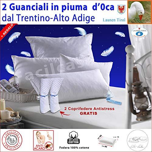FACILCASA 2 Guanciali Cuscini Piuma d\' Oca 50+50 LAUNEN Tirol +Gratis 2 Coprifedere 50x80 h18 (Nr. 2 Cuscini)